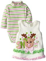 Bonnie Jean Little Girls 2T-6X Ivory Snow Reindeer Fleece Jumper Dress Set (3T) image 2