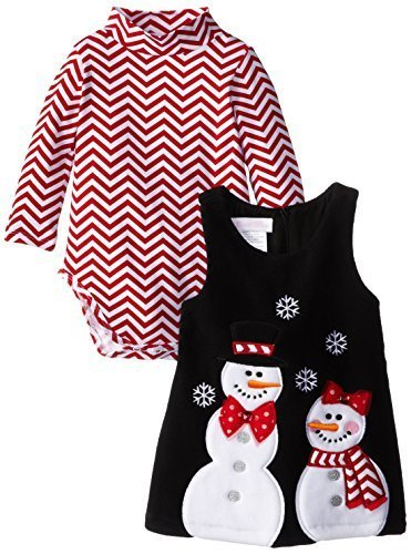 Bonnie Jean Little-Girls 2T-6X Snowman Applique Fleece Jumper (4, Black/Red)