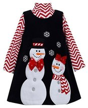 Bonnie Jean Little-Girls 2T-6X Snowman Applique Fleece Jumper (6, Black/Red)