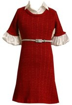 Bonnie Jean Little Girls' Cable Knit Sweater Dress, Red, 5 [Apparel]