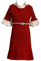 Bonnie Jean Little Girls' Cable Knit Sweater Dress, Red, 5 [Apparel] image 2