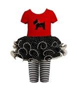 12M,BNJ-4940B Short-Sleeve Scottie Puppy Dog Applique Tutu Dress/Legging... - $30.49