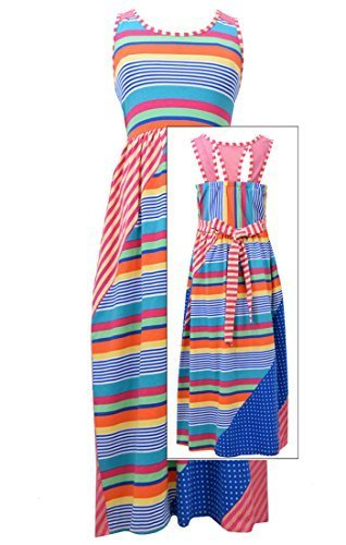 Big-Girls Tween Pink/Multi Geometric Stripe Cage Back Maxi Knit Dress, FC4MH,...
