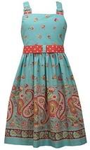 Bonnie Jean Big Girls' Aqua Paisley Print Sun Dress (8) [Apparel]