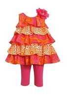 Little Girls Fuchsia Orange Mixed Print Tier Dress/Legging Set, Bonnie Jean, ...