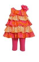 Little Girls Fuchsia Orange Mixed Print Tier Dress/Legging Set, Bonnie Jean, ...