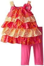 Bonnie Jean Little Girls' Mixed Tiered Capri Set, Fuchsia, 3T [Apparel]