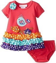 Baby Girls Newborn Coral Bird Applique Knit Dress, CR0SA, Coral, Bonnie Jean,...