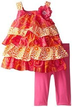 Bonnie Jean Little Girls' Mixed Tiered Capri Set, Fuchsia, 4T [Apparel]