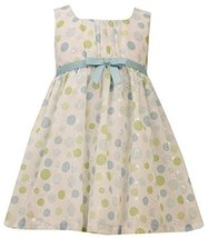 Aqua-Blue Green Dot Print Embroidered Eyelet Dress, AU2HA, Aqua, Bonnie Jean,...