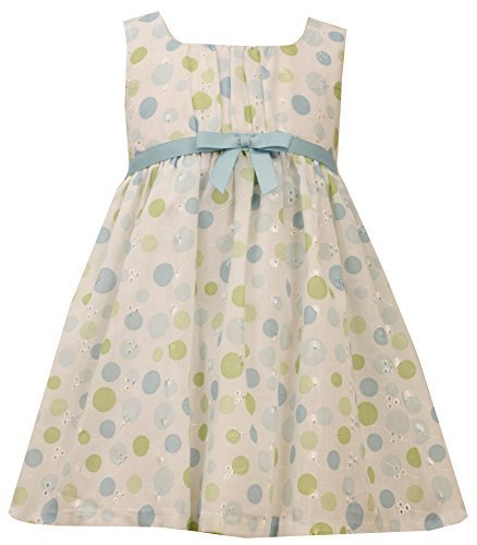 Aqua-Blue Green Dot Print Embroidered Eyelet Dress, AU2BA, Aqua, Bonnie Jean,...