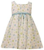 Aqua-Blue Green Dot Print Embroidered Eyelet Dress, AU2BA, Aqua, Bonnie Jean,...