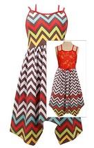 Little-Girls 2T-6X Coral Multicolor Chevron Stripe Lace Back High Low Hem Dre...