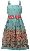 Bonnie Jean Big Girls' Aqua Paisley Print Sun Dress (7) [Apparel]