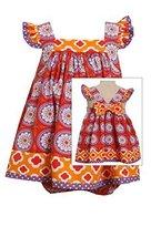 Baby-Girls Infant Coral Red Flutter Shoulder Bow Back Dress, Bonnie Baby, Cor...