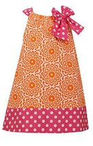 Little Girls 2T-6X Orange Pink Bow Shoulder U-Neck Poplin Print Dress, OA2BU,... image 1