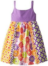 Bonnie Jean Little Girls' Dot To Mixed Print Sundress, Purple, 6X [Apparel] B...
