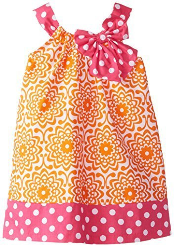 Bonnie Jean Little Girls' Funnel Neck Poplin Sundress, Orange, 2T [Apparel]