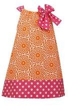 Little Girls 2T-6X Orange Pink Bow Shoulder U-Neck Poplin Print Dress, OA2HA,...