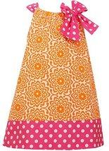 Little Girls 2T-6X Orange Pink Bow Shoulder U-Neck Poplin Print Dress, OA2HA,... image 2
