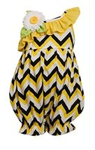 Baby-Girls Newborn Yellow Chevron Stripe Asymmetric Romper, Bonnie Baby, Yell...