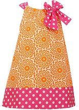 Little Girls 2T-6X Orange Pink Bow Shoulder U-Neck Poplin Print Dress, OA2BA,... image 2