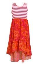 Little-Girls 2T-6X Stripe Knit Lace Back to Printed Chiffon High Low Dress, 5...