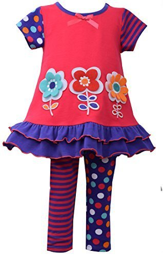 Little Girls 2T-4T Coral/Purple Embroidered 3-Flower Applique Knit Dress/Legg...