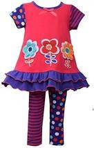 Little Girls 2T-4T Coral/Purple Embroidered 3-Flower Applique Knit Dress/Legg...