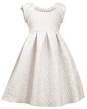 Little Girls Ivory Metallic Brocade Pearl Neckline Fit Flare Dress, IO3NA, Iv...