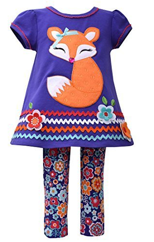 Little Girls 4-6X Purple/Multi Floral Fox Applique Knit Dress/Legging Set, Bo...