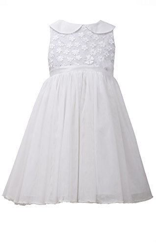 Little Girls 4-6X Ivory Peter Pan Collar Fit and Flare Dress, Bonnie Jean, Iv...