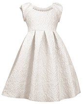Little Girls Ivory Metallic Brocade Pearl Neckline Fit Flare Dress, IO3SP, Iv...