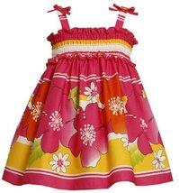 Bonnie Jean Little Girls' Smocked Bodice Stripes And Flowers Sundress, Fuschi...