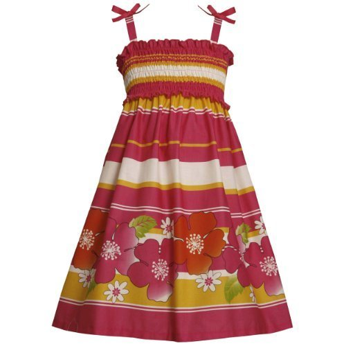 Size-5 BNJ-3374M FUCHSIA-PINK YELLOW STRIPE and FLORAL BORDER PRINT SMOCKED S...