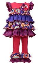 Baby Girls Infant 12M-24M Coral Flutter Mix Print Tiers Knit Legging Pants Se...