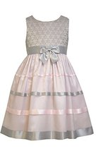 Little Girls 2T-4T Pink/Grey Floral Lace and Ribbon Fit Flare Dress, Bonnie J... image 2