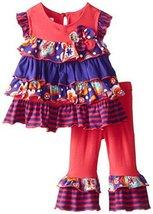 Baby Girls Infant Coral Flutter Mix Print Tiers Knit Legging Pants Set (18 Mo... image 2