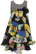 Bonnie Jean Littie Girls' Striped to Chiffon Floral Hi Lo Dress (5, Multi)