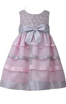 Little Girls 2T-4T Pink/Grey Floral Lace and Ribbon Fit Flare Dress, Bonnie J... image 1