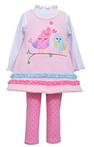 Baby Girls Pink 3-Piece Love Birds Fleece Jumper Dress/Legging set, INMH-W1-B...