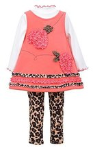 Baby Girls Coral 3-Piece Bonaz Bows Hearts Fleece Jumper Dress/Legging Set, N...