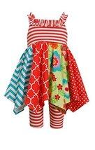 Little Girls Stripe to Mix Print Hanky Hem Panel Dress/Legging Set, Bonnie Je...