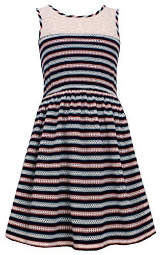 Big Girls Tween Navy-Blue/Multi Illusion Lace Perforated Stripe Tank Dress, N...