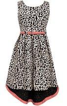 Big Girls Tween Navy-Blue Ivory Jacquard Knit High Low Fit Flare Dress, NV4MS...