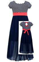 Little-Girls Navy-Blue Mitered Stripe Bow Back Knit Chiffon Maxi Dress, NV3SP...