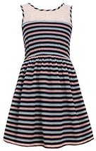 Little Girls Navy-Blue/Multi Illusion Lace Perforated Stripe Tank Dress, NV3B...