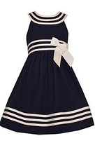Little Girls 2T-6X Navy-Blue/White U-Neck Stripe Band Fit Flare Nautical Dres...
