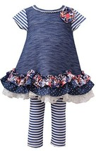 Little Girls Blue Chambray Tier Scallop Hem A-Line Knit Dress/Legging Set, BU...