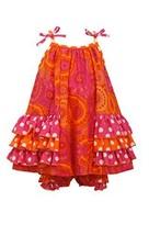 Baby-Girls Infant Tier Side Ruffles Paisley Dress, Bonnie Baby, Fuchsia, 12M - $28.61